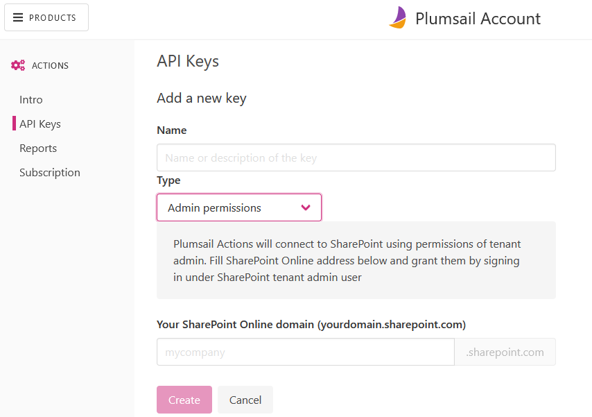 Register account and get API key — Plumsail Actions 1 0