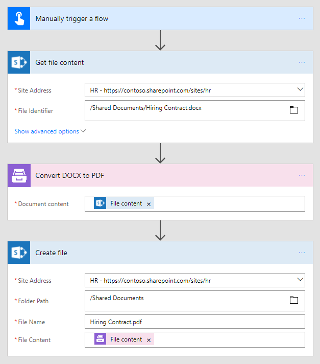 Convert DOCX to PDF in Microsoft Flow and Azure Logic Apps