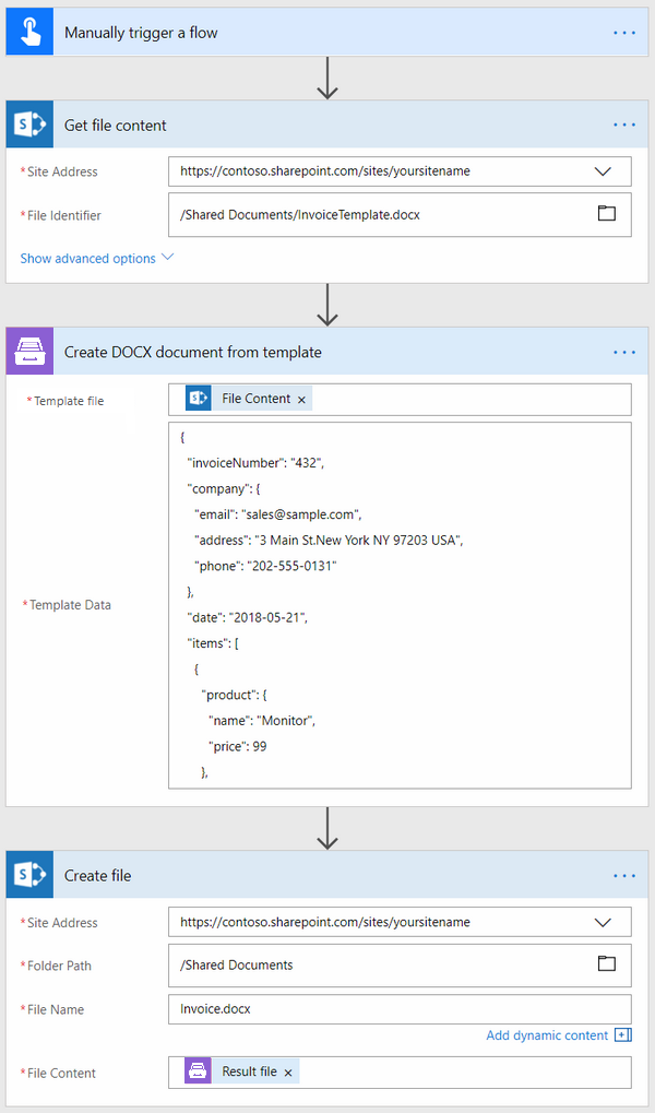 how to create docx document from template in microsoft flow azure