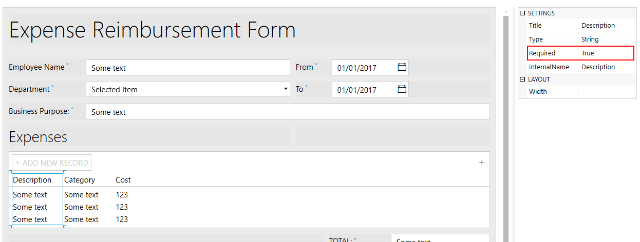 Convert form with Data Table into PDF and send for approval
